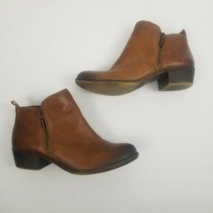 Lucky Brand Basel Brown Ankle Booties Burnished